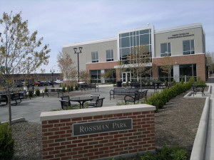 Rossman Park (where Kaufman's once stood),  Sheetz Center for Entrepreneurial Excellence in background (old Meyer Jonasson building)